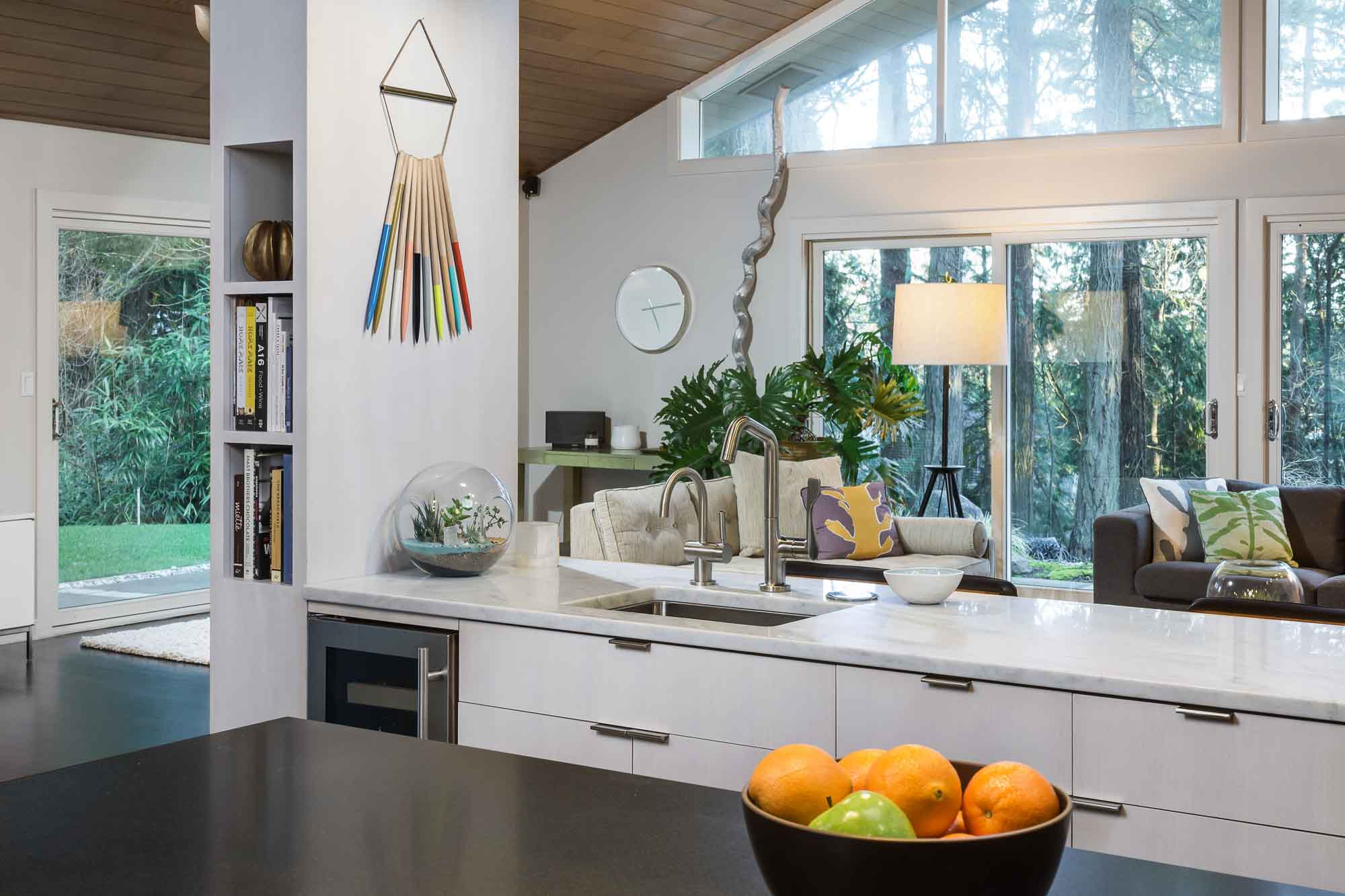 open concept high end kitchen design with high ceilings