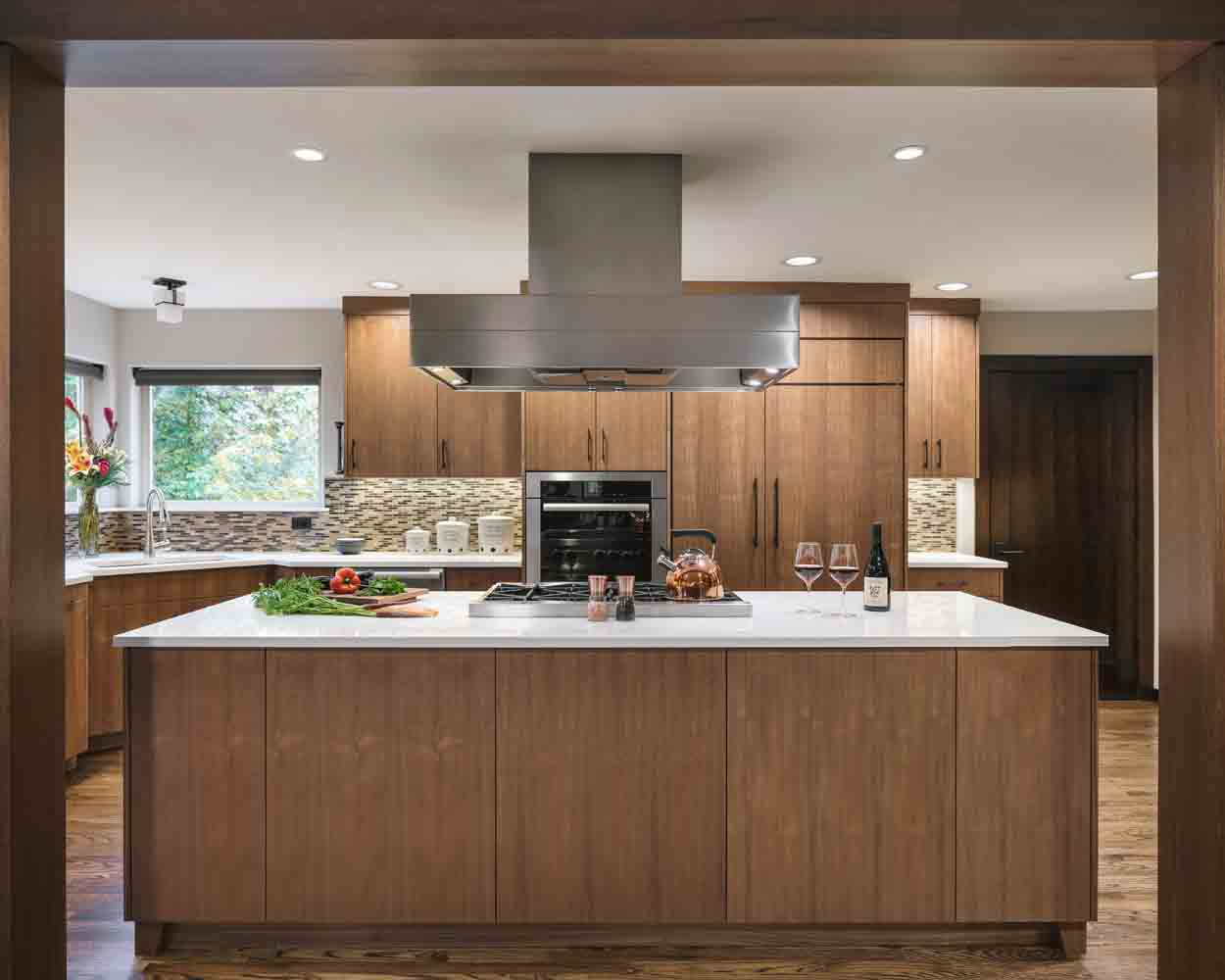 brown luxury kitchen with large island