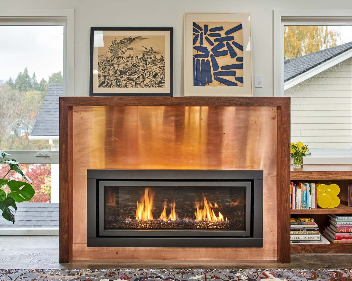 Copper fire place front
